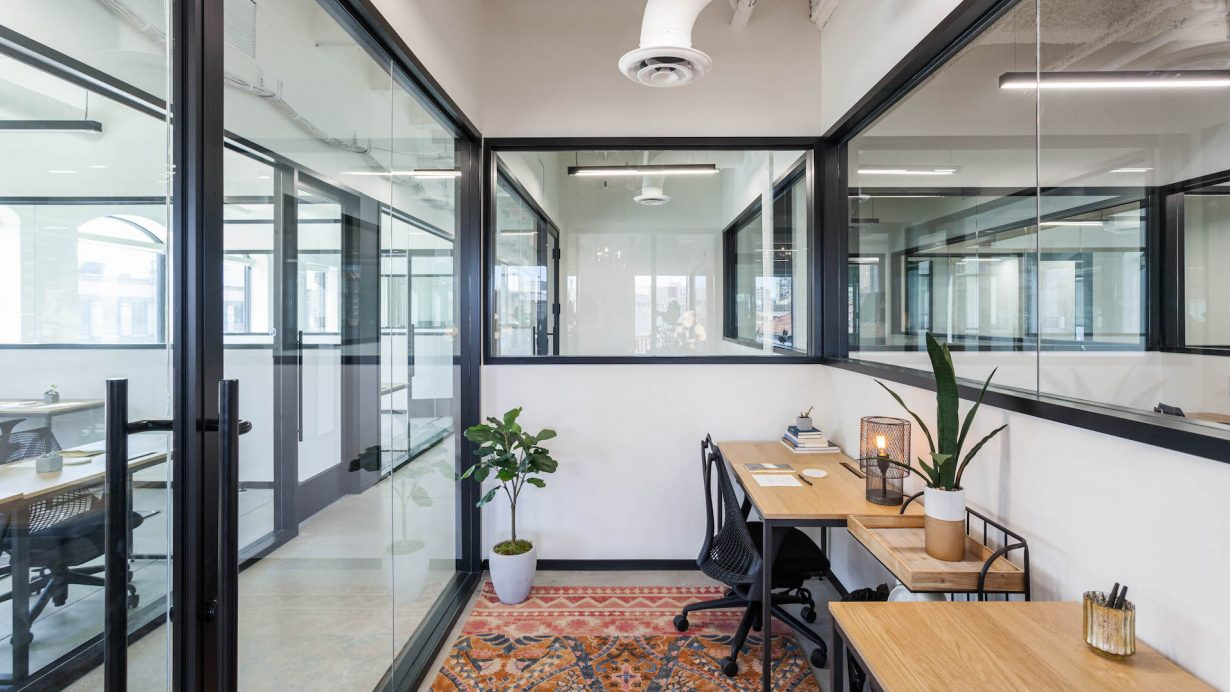 Offices come fully-furnished with desks and Herman Miller chairs.