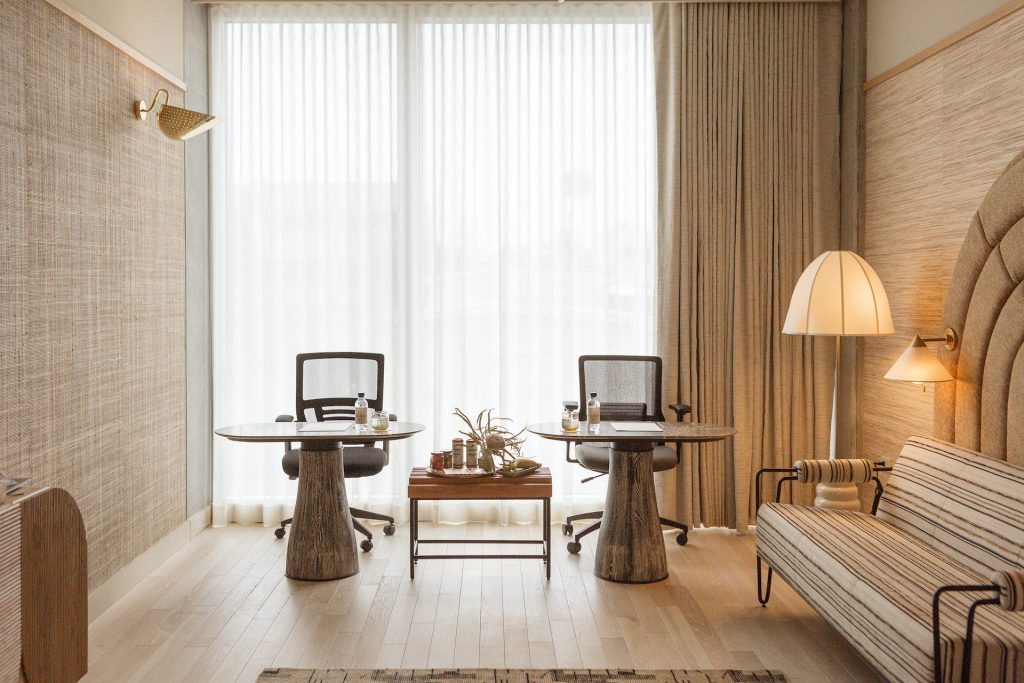 Hotel rooms-turned-offices at Santa Monica Proper can accommodate individuals or teams of up to six.
