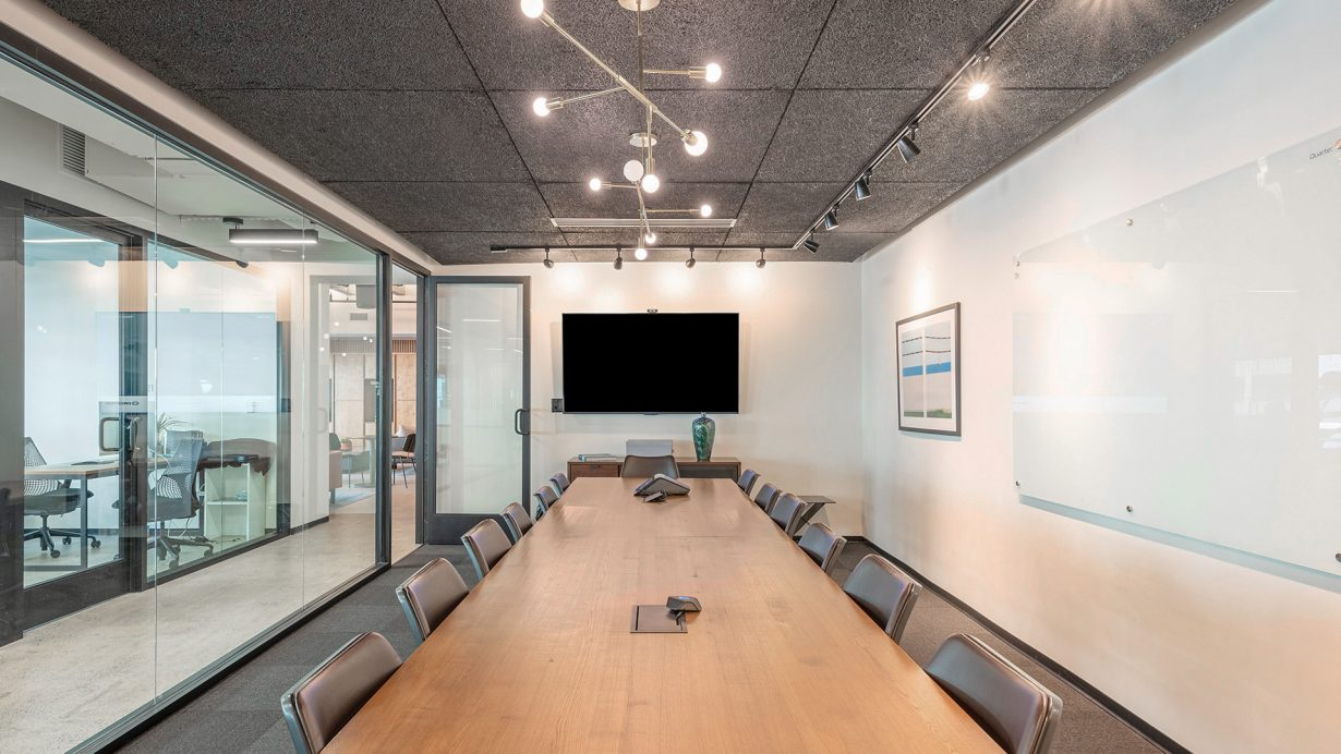Members can book conference rooms with whiteboards, A/V equipment, and other amenities.
