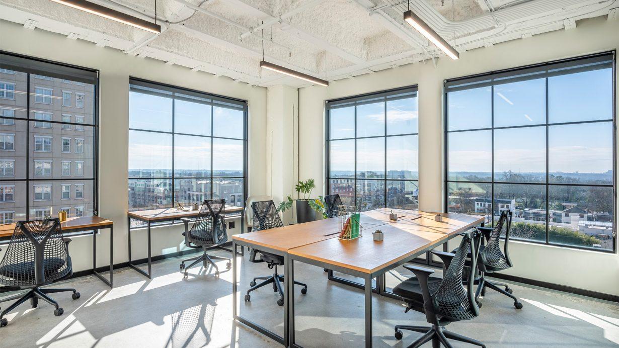 Private offices and suites overlook Atlanta's Buckhead neighborhood.