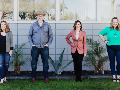 From left, Root and River's Jennifer Lawhead, Chief of Story; Justin Foster, co-founder and CRO; Emily Soccorsy, co-founder and CEO; and Cat Weise, Chief of Staff. (Jean Laninga)