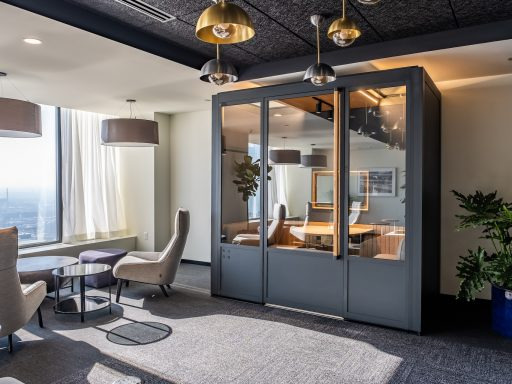 One of ROOM and Industrious' new Workspace Galleries at Industrious Willis Tower in Chicago.