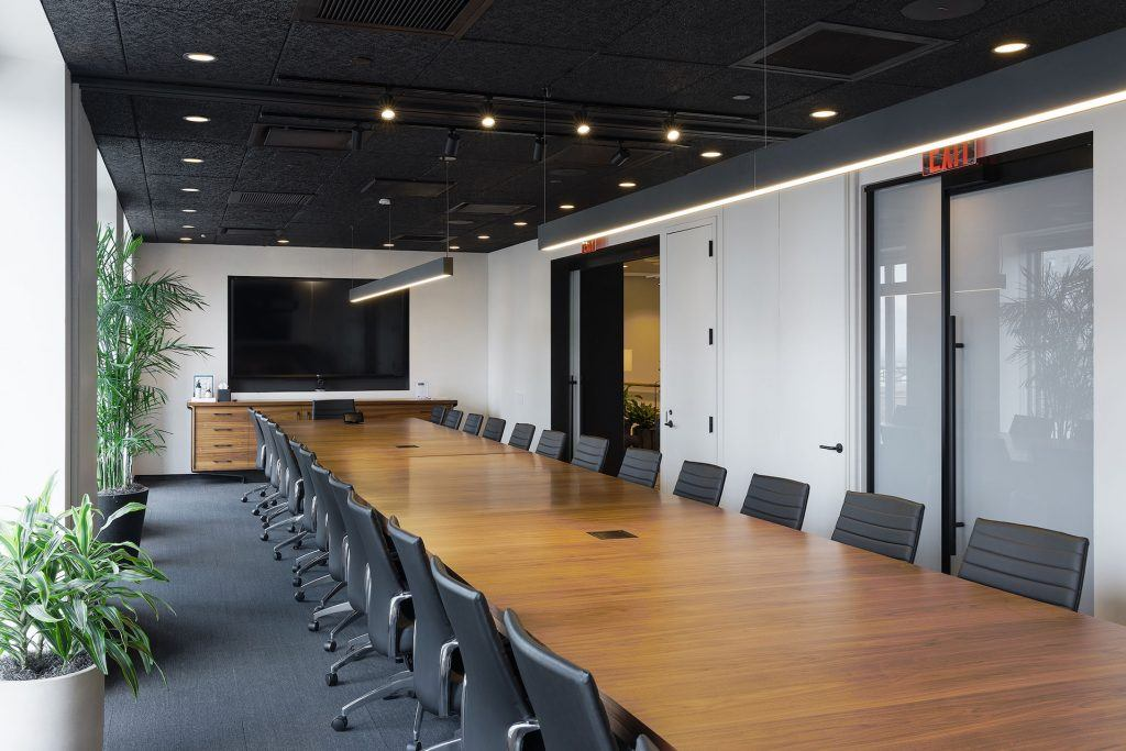 Conference rooms of various sizes come with whiteboards, A/V equipment, and other amenities.