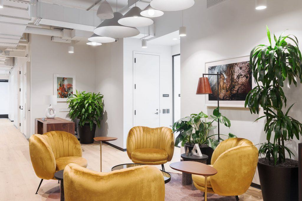 Chic, contemporary furnishings add pops of color to the common areas.