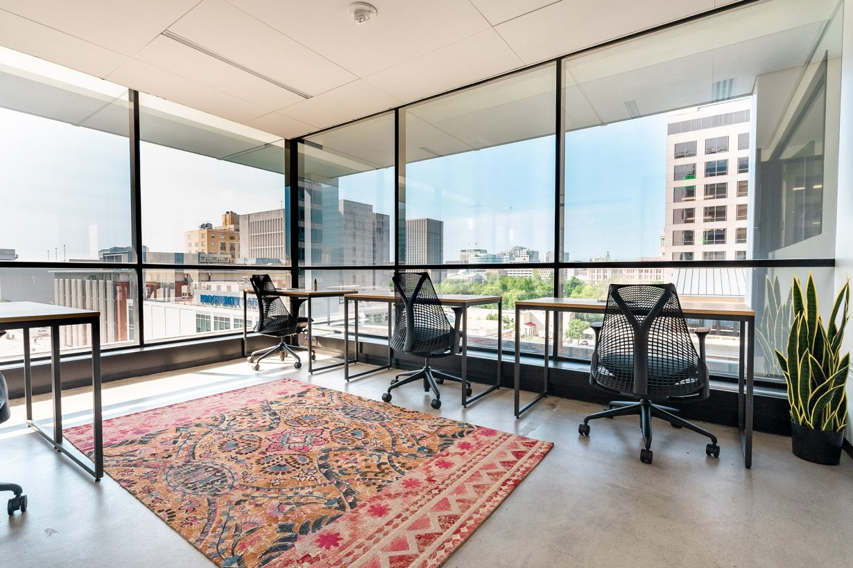 Offices and suites at Industrious 9th and Congress overlook downtown Austin.