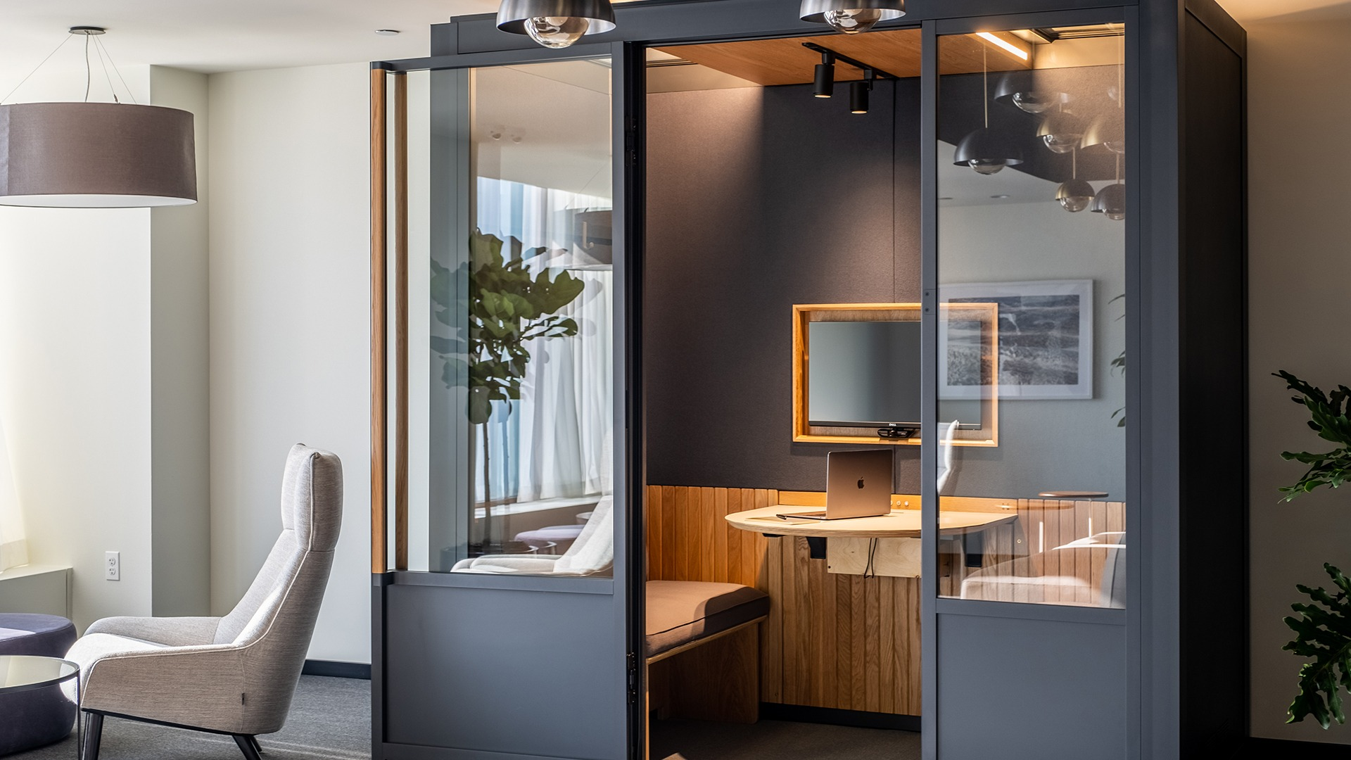 The office of tomorrow may have modular meeting rooms, which can be used to create a workplace that's specific and multifunctional.