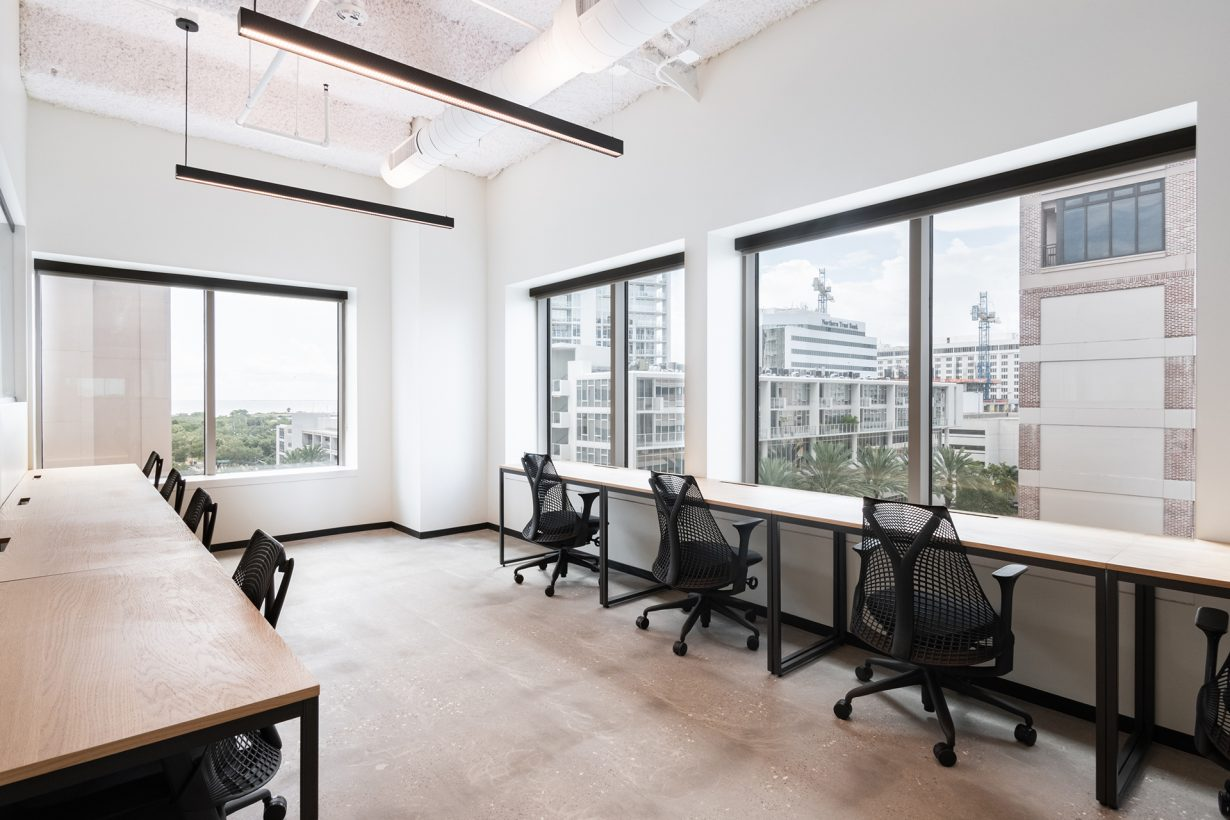 Suites at Industrious 200 Central Ave. afford views of downtown Tampa.